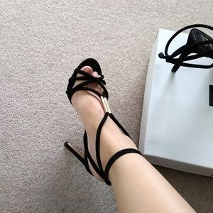 Seude Strappy Heel with Gold Hardware